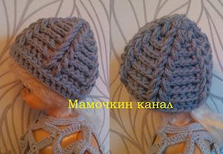 Вяжем крючком шапку с косами
