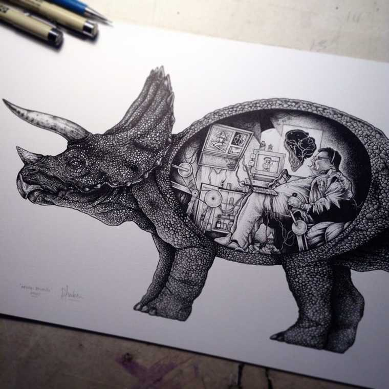 10-Newman-from-Seinfeld-in-a-Triceratops-Paul-Jackson-Star-Wars-Miniature-Drawings-www-designstack-co