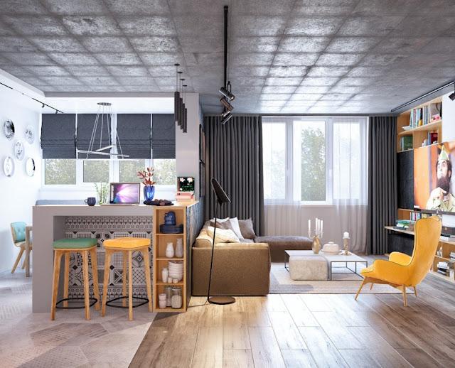 interior dengan aksen warna kuning 7