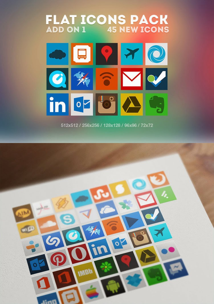 45 Beautiful Flat Social Media Icons