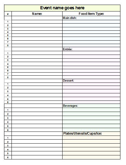 Bitch: Download Free Potluck Sign-Up Sheet Template (Word Format