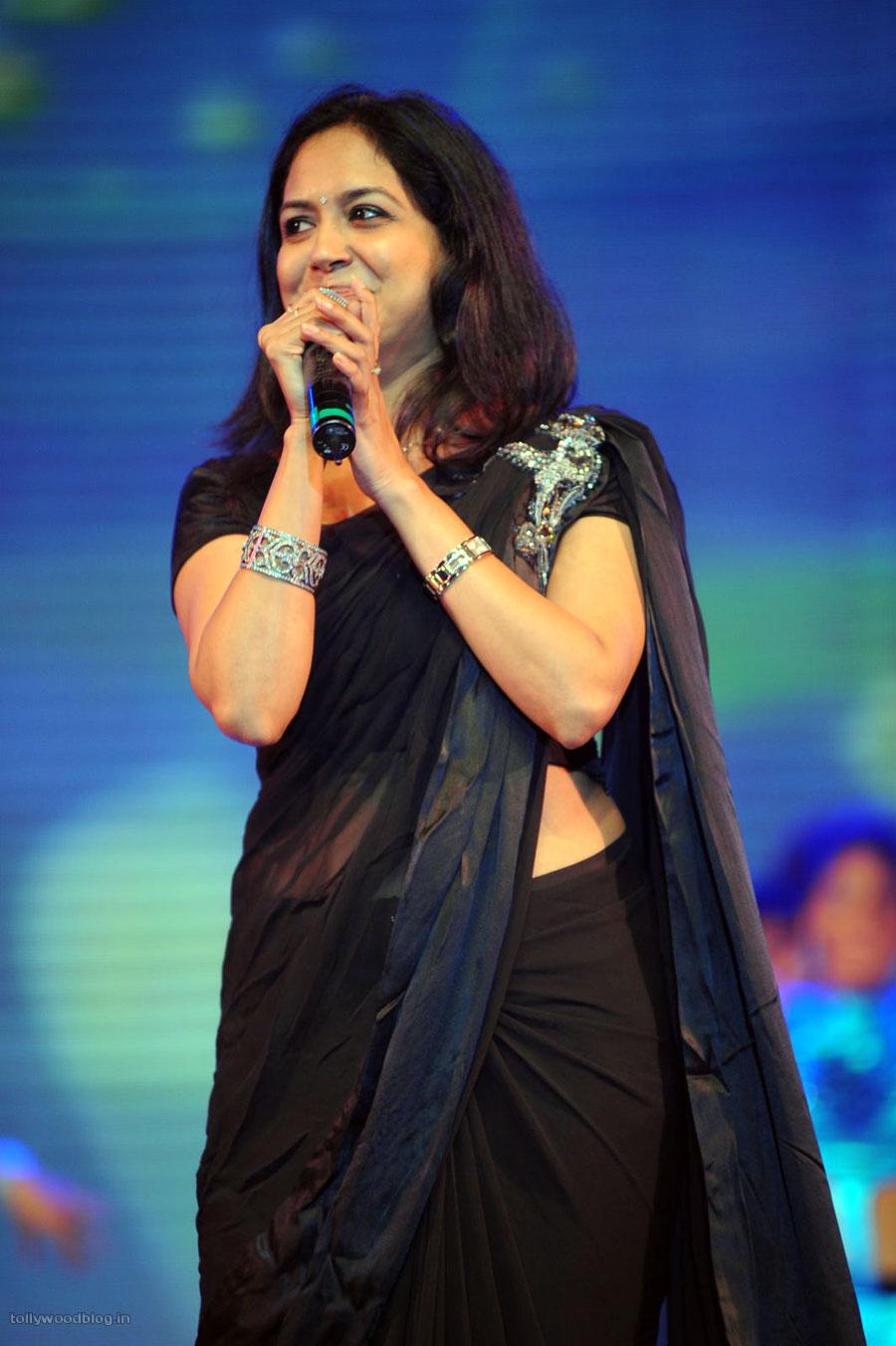 Singer Sunitha In Black N Black Saree At Dhamarukam Audio