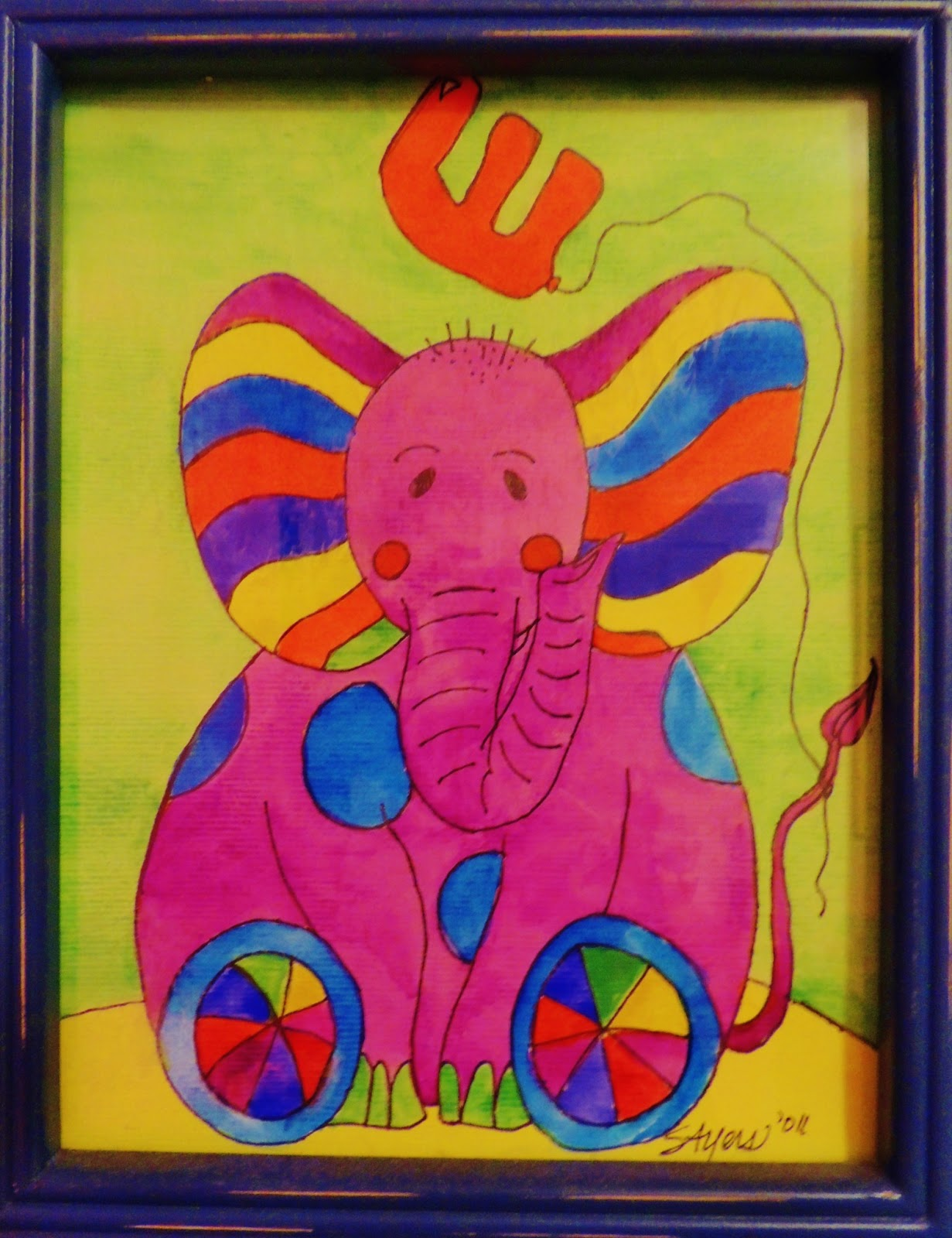 Colorful elephant with letter E Watercolor painting by Stephanie Ayers