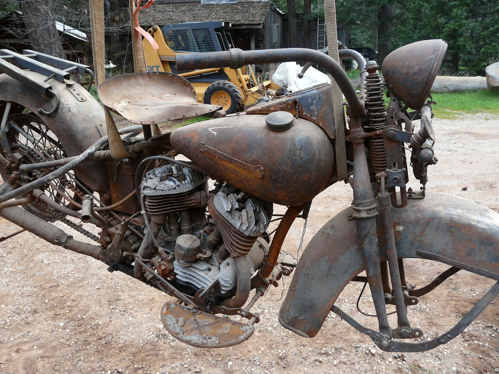 Rusty 1950 Harley Flathead Motorcycle Right View