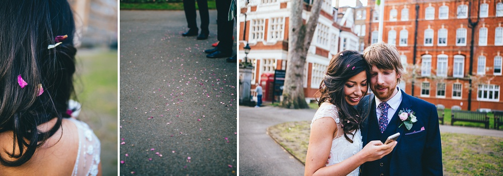 Wedding confetti detail photograph and bride and groom on their phone