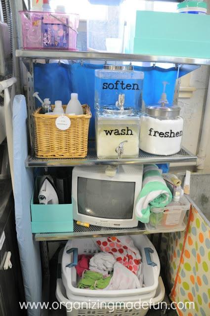 Organizing laundry detergent with beverage dispensers :: OrganizingMadeFun.com
