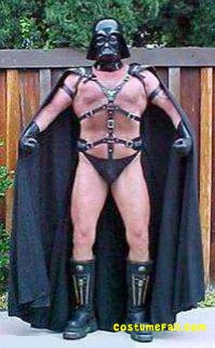 Cosplay Darth Vader Sado maso, casque cape slip et harnais en cuir