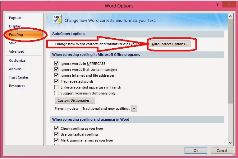 kotak dialog word options