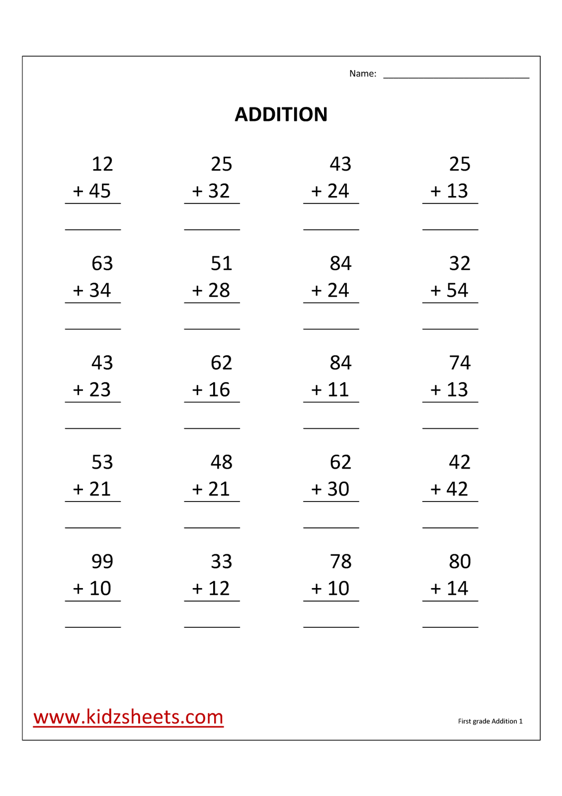 Kidz Worksheets August 2012 – 1st Grade Math Addition Worksheets
