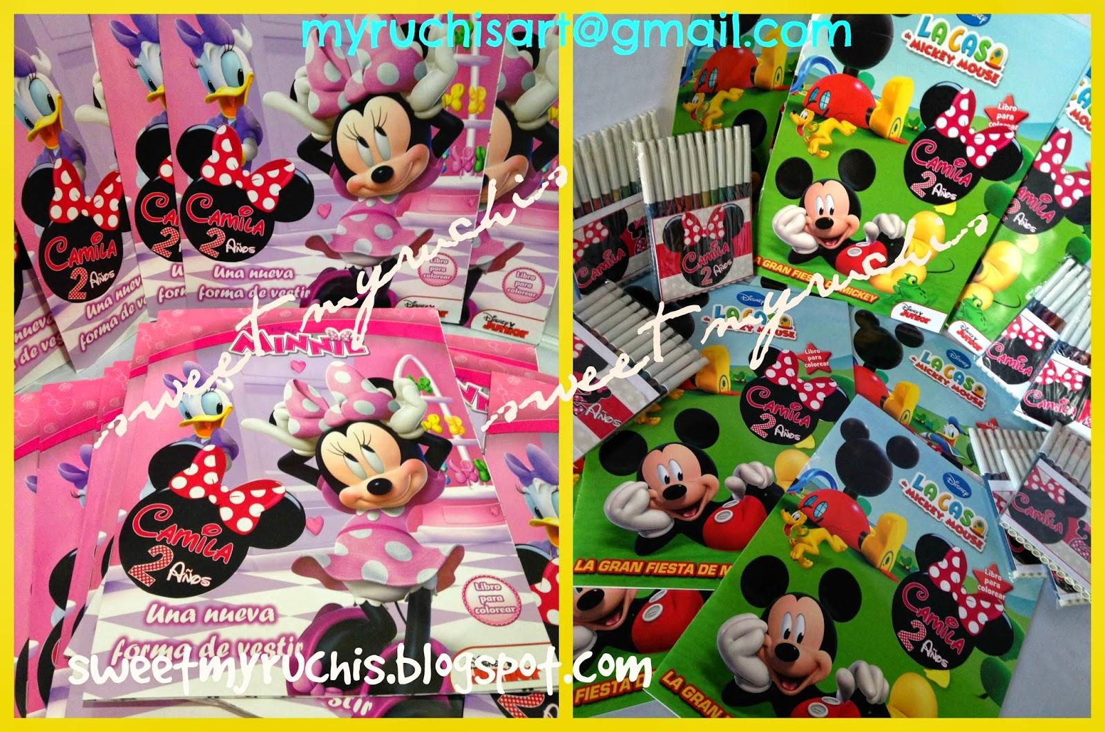 Ideas para fiesta de Mickey y Minnie.Libros para Colorear y Plumones ...