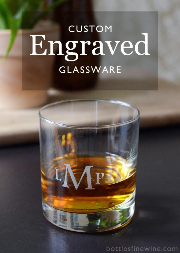 custom engraved rocks glass monogram