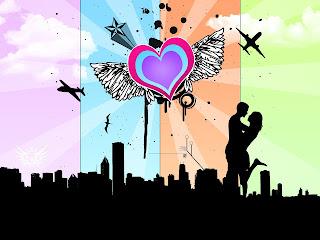 Corazón con una pareja en la ciudad