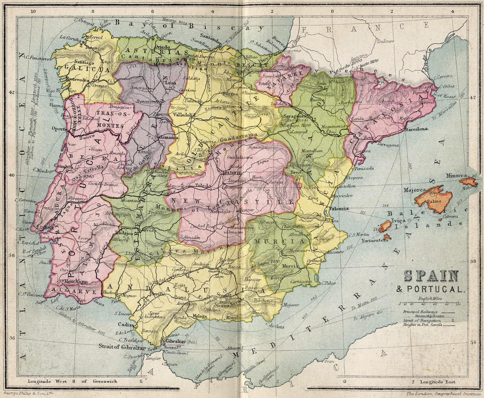 Mapa de España George Philip 1911