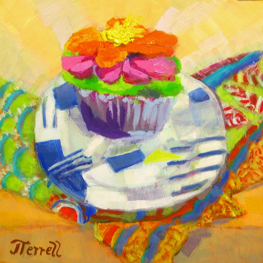 colorful oil painting by Joan Terrell titled My Big Fat Fauve Cupcake