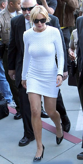 Interesting choice of clothing for court appearances by Lindsay Lohan