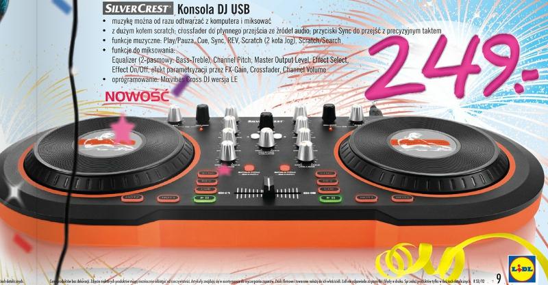Konsola DJ Silvercrest USB Lidl ulotka