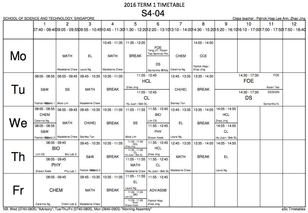 Cl Timetable   2016 S4 04 Class Blog 2016 Term 1 Timetable
