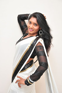 Nisha Telugu Actress in Spicy White Transparent Saree Black Choli Sizzling Pics