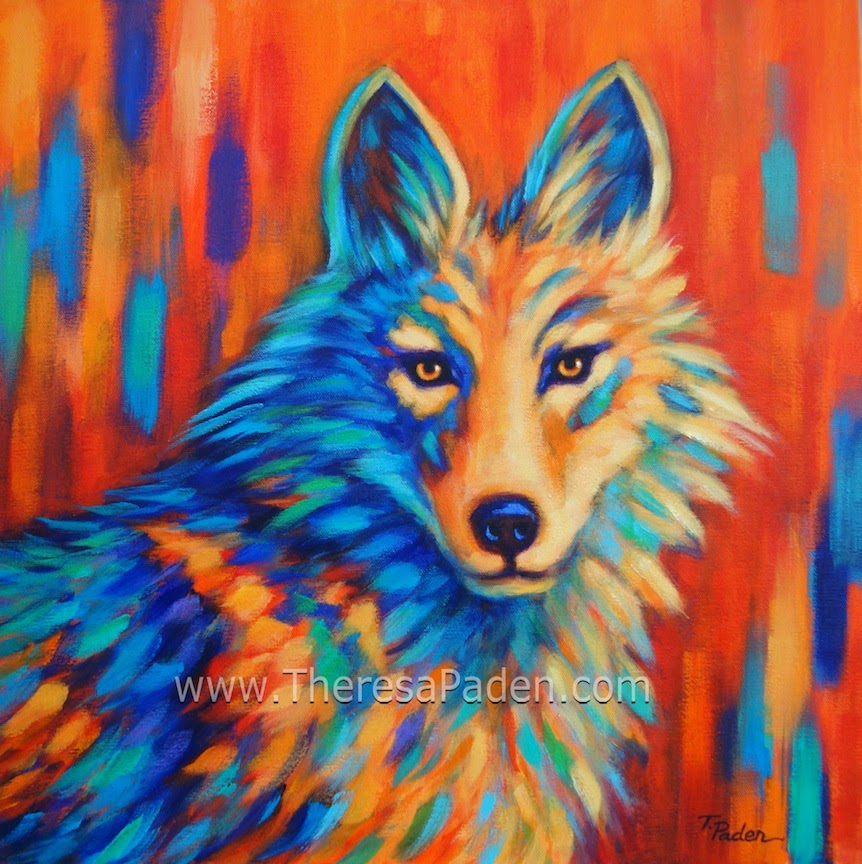 Coyote Painting In Bright Colors By Theresa Paden