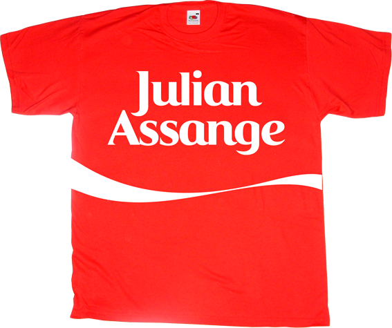 Julian Assange wikileaks activism freedom coca cola coke freedom of speech useless capitalism useless Politics t-shirt ephemeral-t-shirts