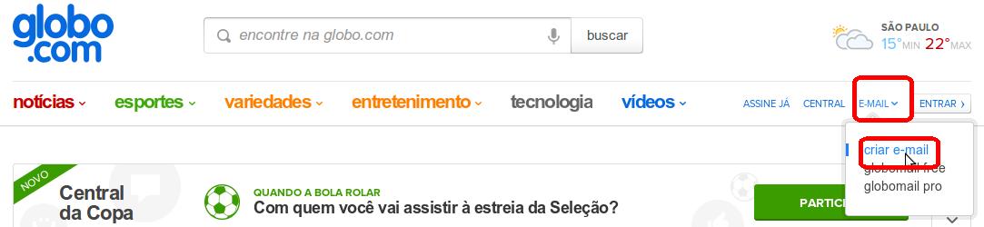 Tutorial para iniciante sobre criar e-mail da Globo.com