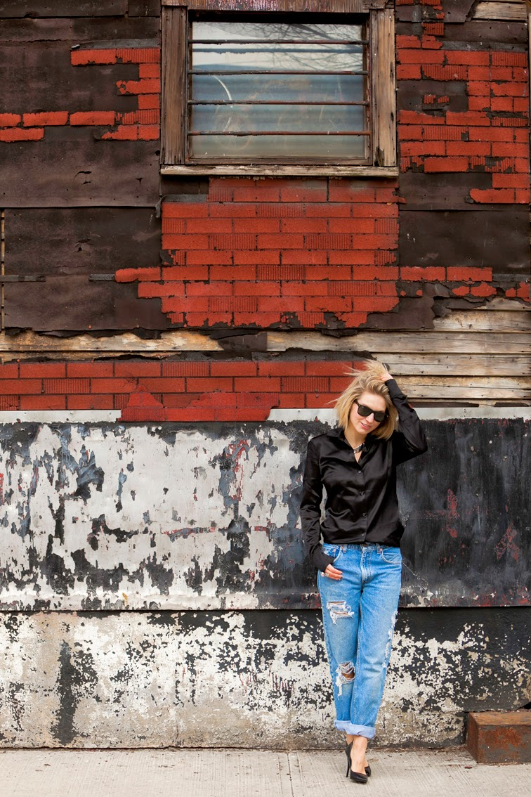 Red Hook Brooklyn distressed wall, Joseph satin shirt, distressed boyfriend jeans, Refind Denim, black Guess pumps