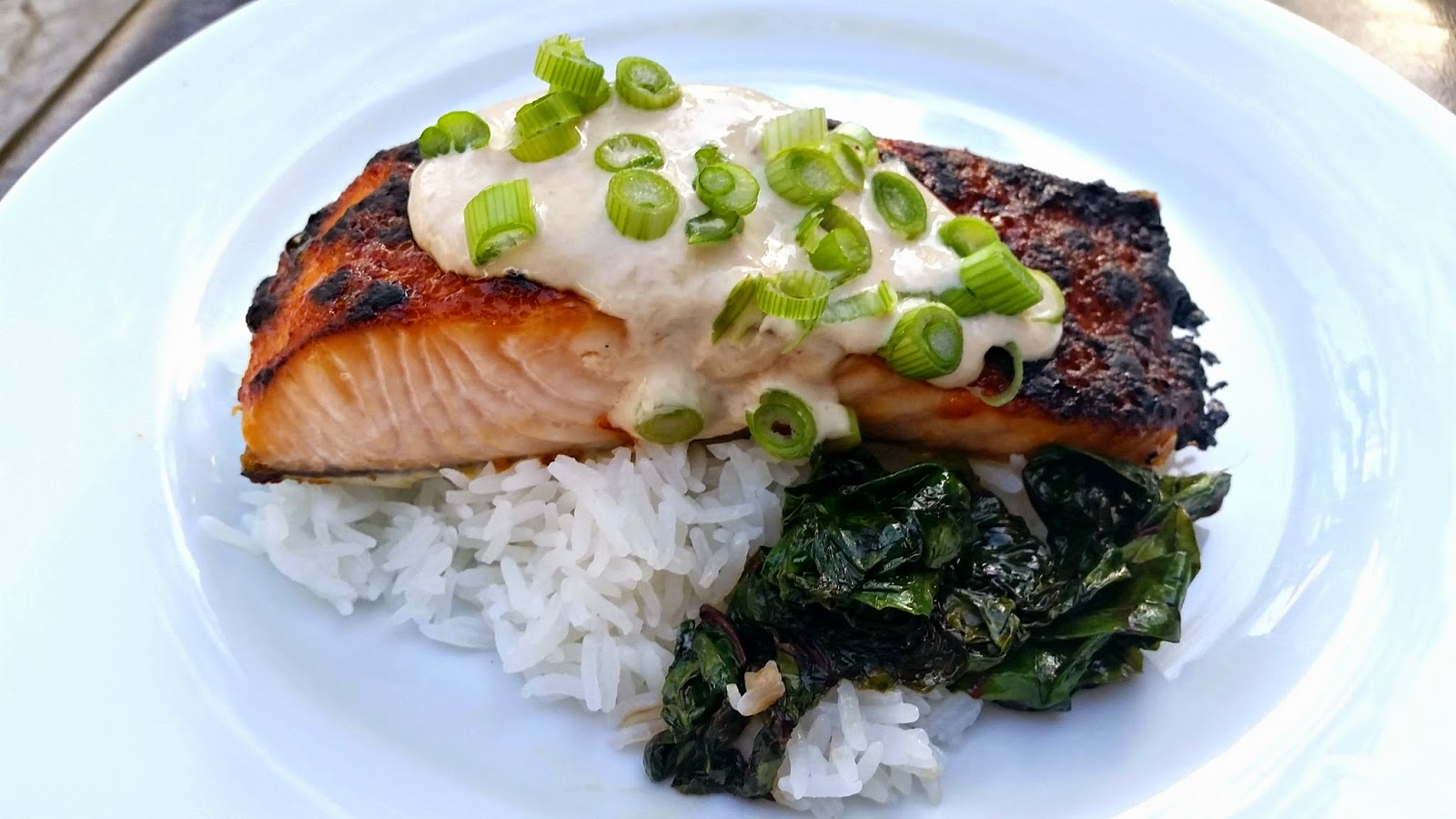 Chile-Garlic Broiled Salmon with Ginger Yogurt Sauce