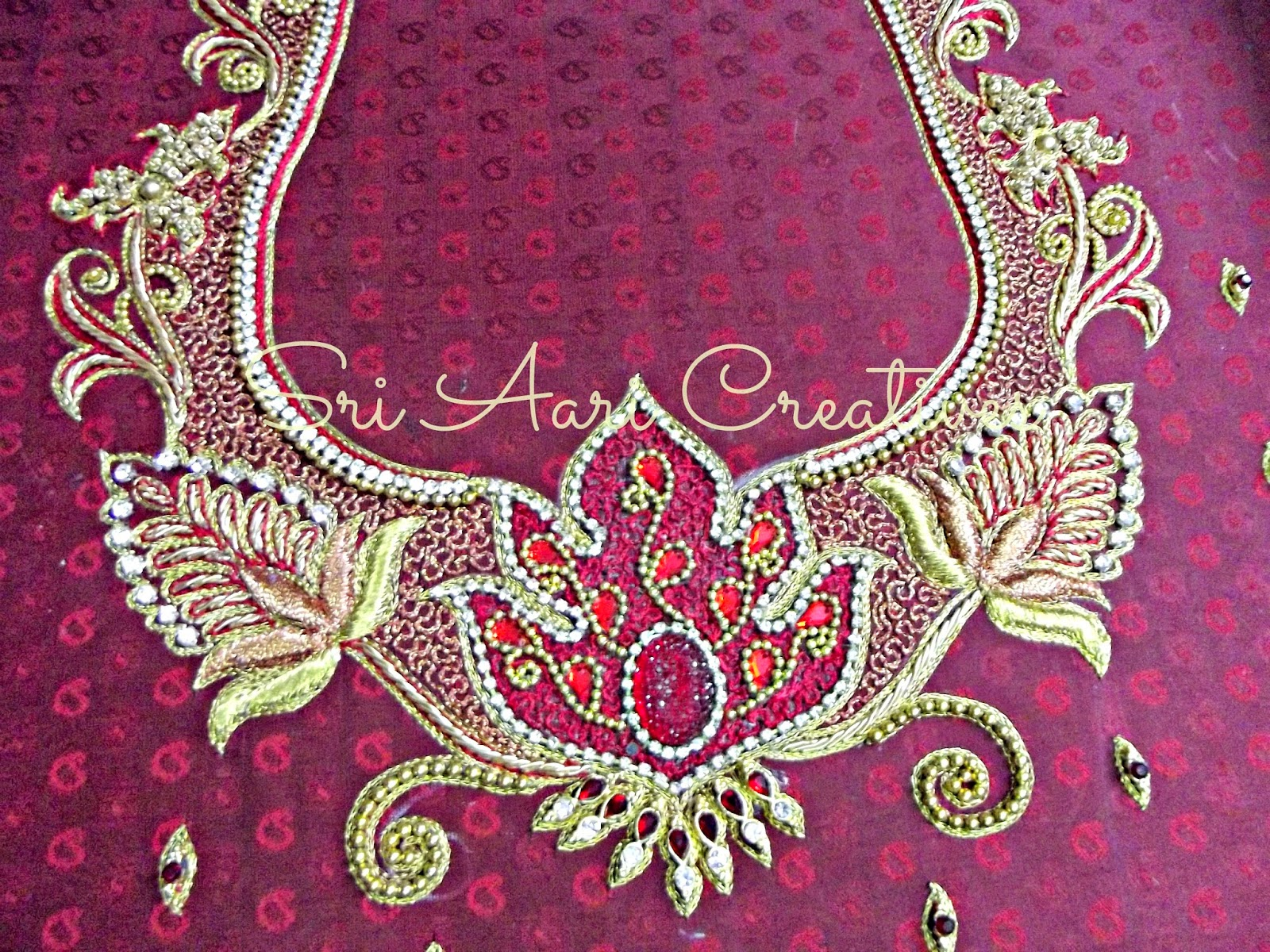 SRI AARI CREATIVES EMBOSSED THREAD WORK U0026 EMBOSSED ZARDOSI WORK ON WEDDING DESIGNER BLOUSES