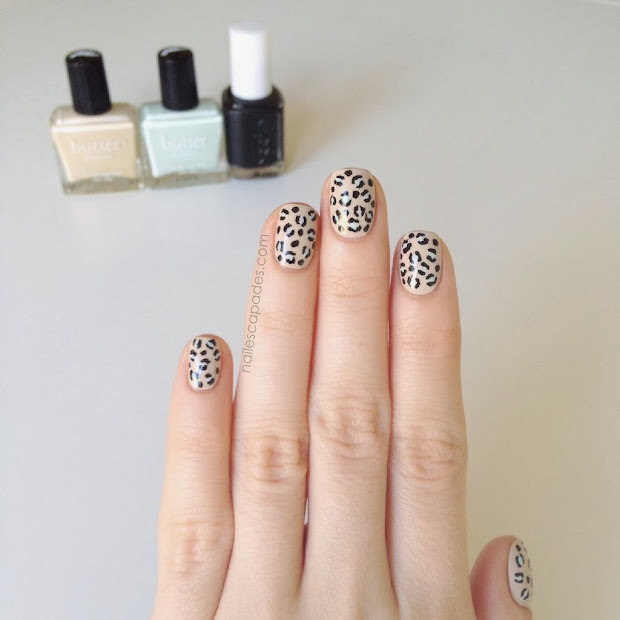 nail escapades mint beige leopard