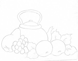 desenho de chaleira com frutas
