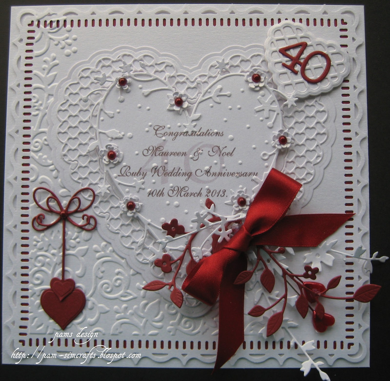 pamscrafts: Ruby Wedding Anniversary