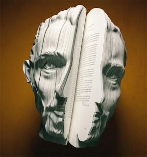 صورة لفينسنت ويليم فان غوخ (رسام) منحوتة على كتاب على شكل الوجه
