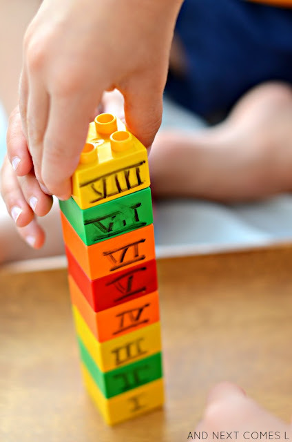Teaching kids about Roman numerals using LEGO math tray from And Next Comes L