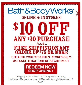 Bath and body works online coupons free shipping