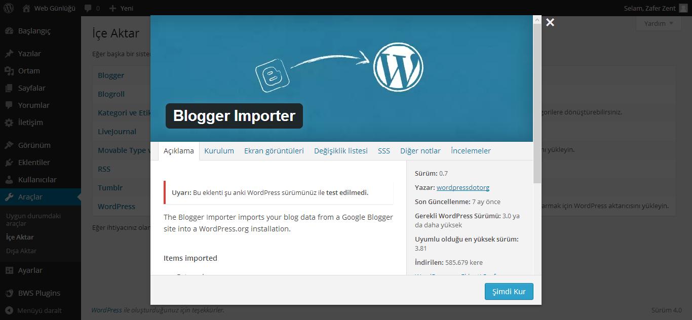 blogger importer eklentisi ile wordpresse geçiş