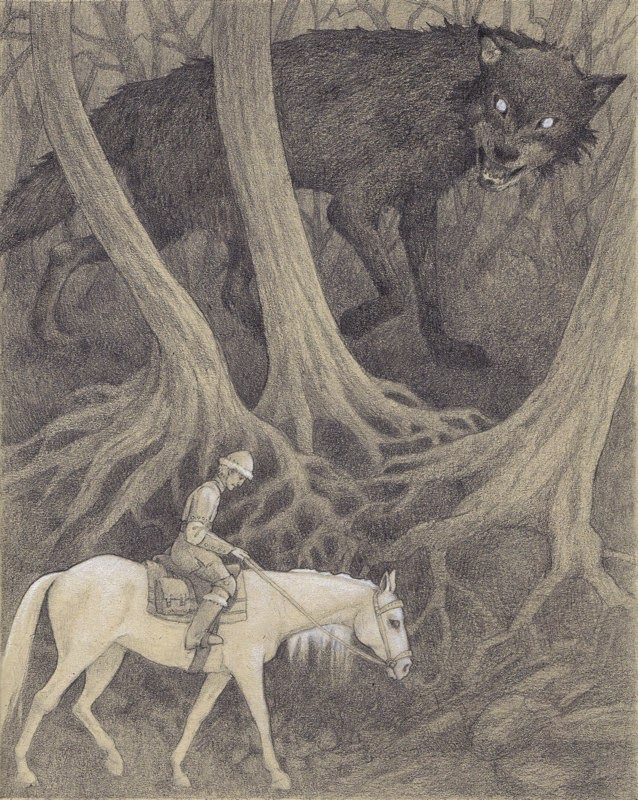 prince, Ivan and the Wolf, illustration, drawing