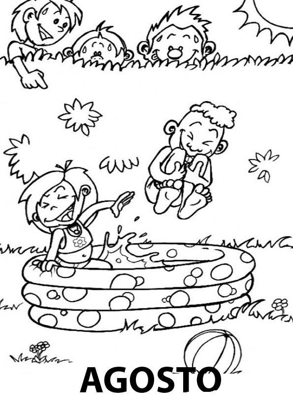 Dibujo de Niños Disfrutando las Vacaciones Agostinas para Colorear ...