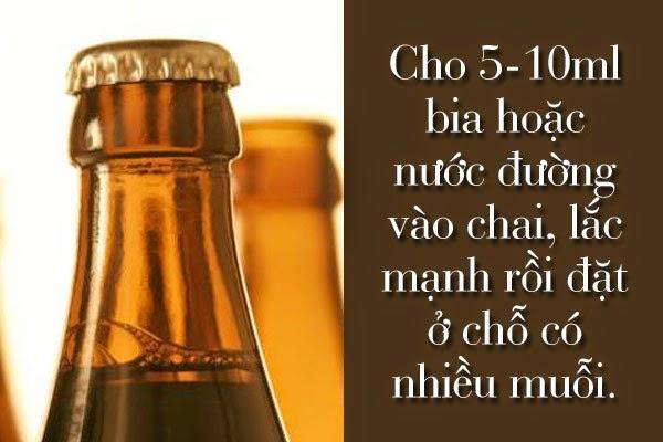 Cho 5 - 10 ml bia hoặc nước đường vào chai, lắc mạnh rồi đặt ở chỗ có nhiều muỗi