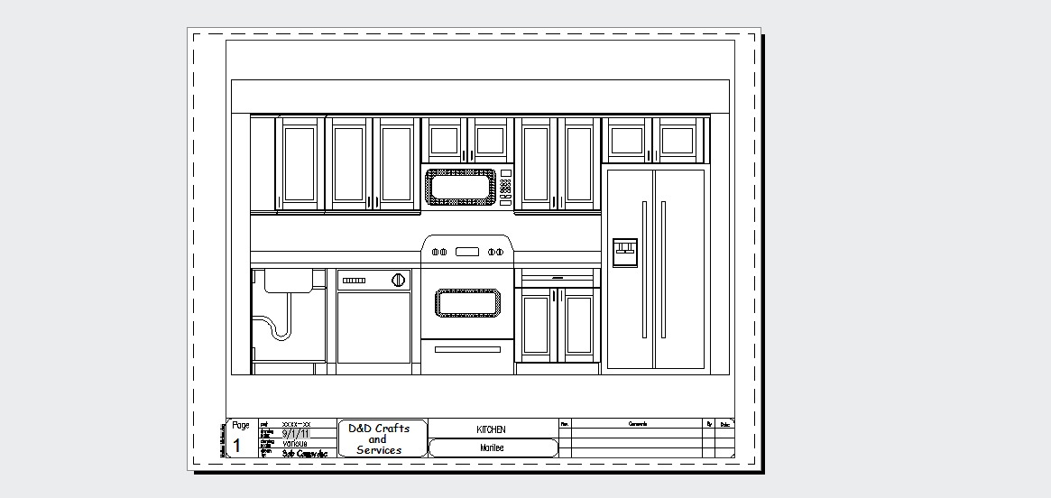 Kitchen Plan Elevation And Section : Autocad drafting and design kitchen sample