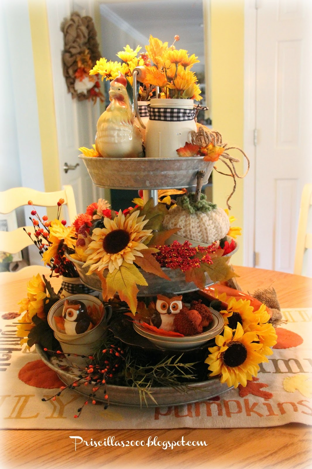 Priscillas a year of the galvanized tiered tray for 3 tier pumpkin decoration