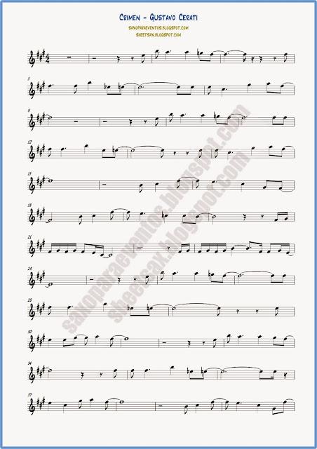 Partitura de Crimen para flauta y violín hoja 1