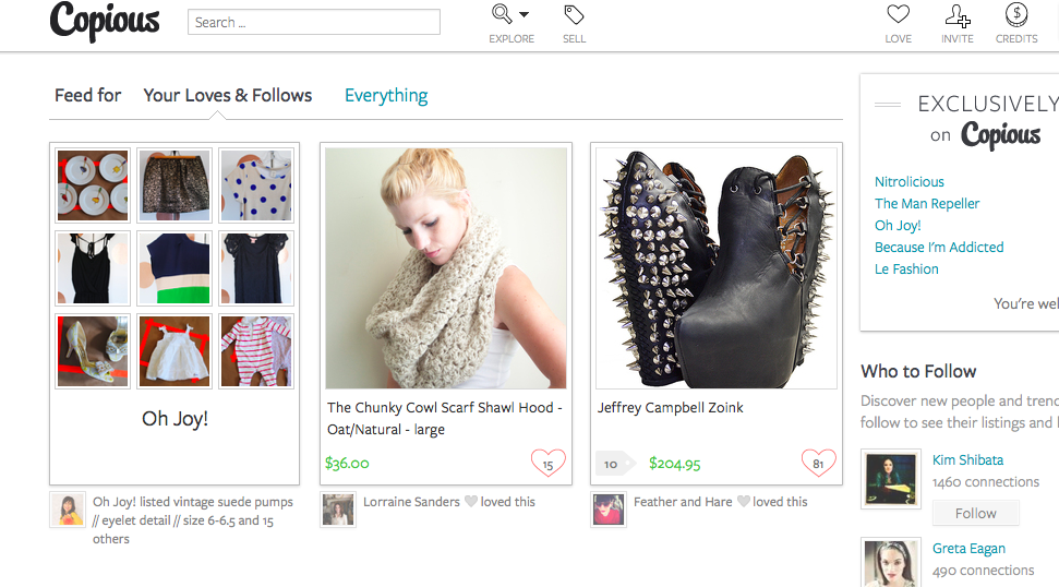 copious, moblie fashion app, resell, fashion