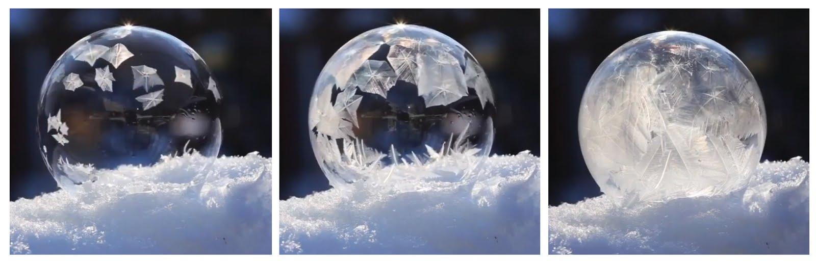 Vídeo; Burbuja de agua congelándose.