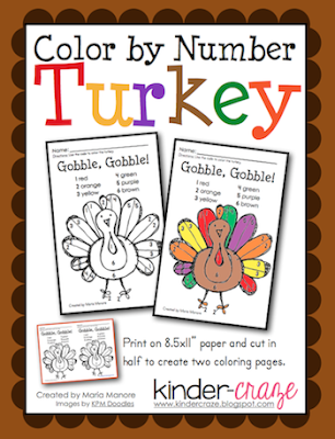 FREE! Color by Number turkey page from Kinder-Craze