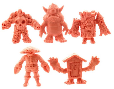 OMFG! Mini Figures Series 1 by October Toys - Multiskull, Stroll, King Castor, Crawdad Kid & Phantom Outhouse Flesh-Pink Colorway Mini Figures
