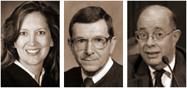The United States Court of Appeals for the Federal Circuit Judges who heard oral argument in Leader Tech v. Facebook, 2011-1366 (Fed. Cir.) on Mar. 5, 2012. (Left to Right) Kimberly A. Moore, Alan A. Lourie (presiding), and Evan J. Wallach. This is the order in which they were sitting (as seen from the gallery) during oral arguments by Leader and Facebook attorneys.