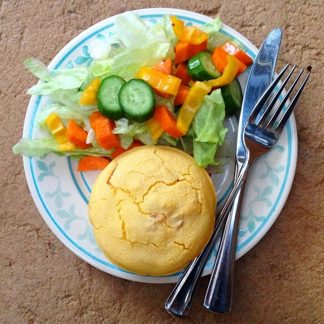 Healthy Ham and Cheese Cornbread Bakes with Salad