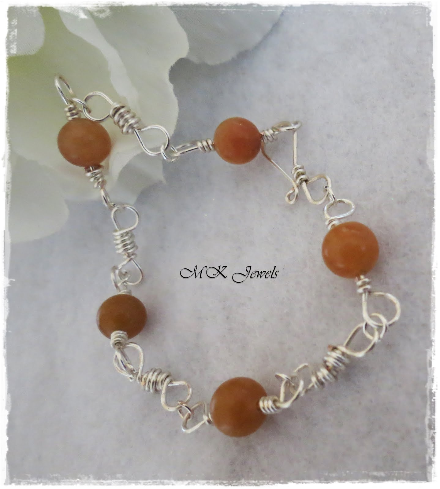 Aventurine Gemstone Silver Wire Wrapped Bracelet