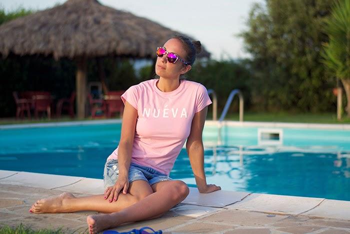 occhiali specchiati rosa