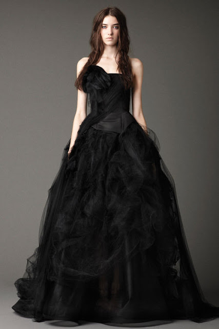 black wedding dresess front